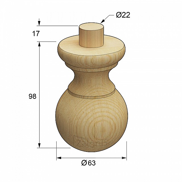 WOODEN BEECH LEG WITH DRAFT D.63 H.98